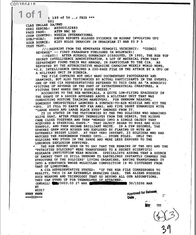 CIA document unclassified in May 2000 claims aliens exited a UFO and turned Russian soldiers into stone.