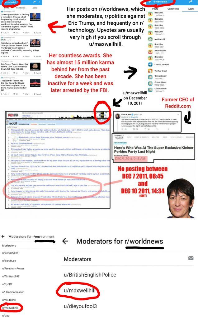 Is Popular Reddit User u/maxwellhill Actually Ghislaine Maxwell?